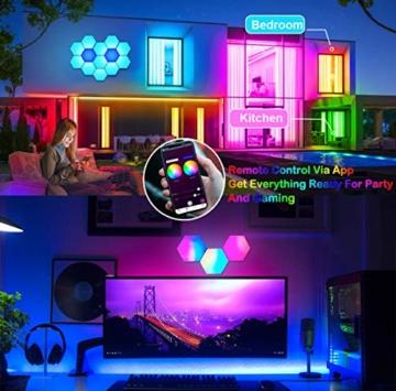 Sechseck Wandleuchte, Smart LED Licht Wandpanel APP Steuerung Musik Sync,16 Millionen Farben Modulares Licht RGB Nachtlicht DIY Geometrie Spleißen Quantum Leuchte für Zuhause Bar Wand Dekor, 6 Stück - 4