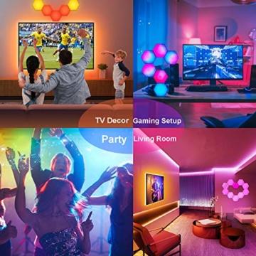 Sechseck Wandleuchte, Smart LED Licht Wandpanel APP Steuerung Musik Sync,16 Millionen Farben Modulares Licht RGB Nachtlicht DIY Geometrie Spleißen Quantum Leuchte für Zuhause Bar Wand Dekor, 6 Stück - 5