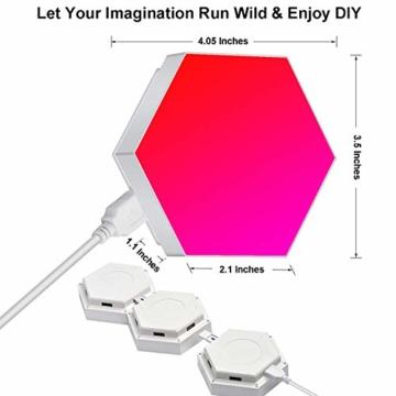 Sechseck Wandleuchte, Smart LED Licht Wandpanel APP Steuerung Musik Sync,16 Millionen Farben Modulares Licht RGB Nachtlicht DIY Geometrie Spleißen Quantum Leuchte für Zuhause Bar Wand Dekor, 6 Stück - 6