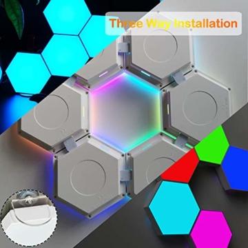 Sechseck Wandleuchte, Smart LED Licht Wandpanel APP Steuerung Musik Sync,16 Millionen Farben Modulares Licht RGB Nachtlicht DIY Geometrie Spleißen Quantum Leuchte für Zuhause Bar Wand Dekor, 6 Stück - 7