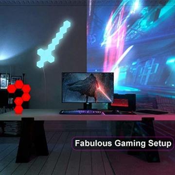 Sechseckige LED Wandleuchten mit Fernbedienung,Intelligente LED Lichtplatten RGB Gaming Lampe Touch-Steuerung Stimmungsbeleuchtung DIY Geometrie Spleißen Quantum Leuchte für Gaming/Party Deko,10 Stück - 2