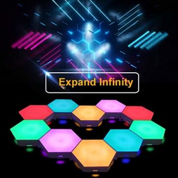 Sechseckige LED Wandleuchten mit Fernbedienung,Intelligente LED Lichtplatten RGB Gaming Lampe Touch-Steuerung Stimmungsbeleuchtung DIY Geometrie Spleißen Quantum Leuchte für Gaming/Party Deko,10 Stück - 3