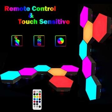 Sechseckige LED Wandleuchten mit Fernbedienung,Intelligente LED Lichtplatten RGB Gaming Lampe Touch-Steuerung Stimmungsbeleuchtung DIY Geometrie Spleißen Quantum Leuchte für Gaming/Party Deko,10 Stück - 4