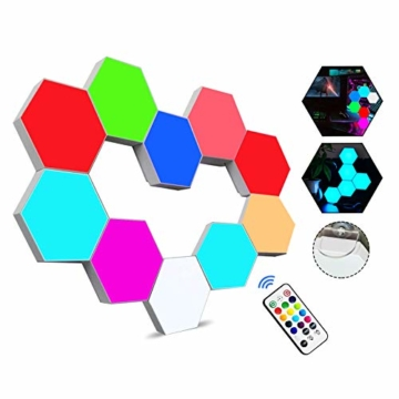 Sechseckige LED Wandleuchten mit Fernbedienung,Intelligente LED Lichtplatten RGB Gaming Lampe Touch-Steuerung Stimmungsbeleuchtung DIY Geometrie Spleißen Quantum Leuchte für Gaming/Party Deko,10 Stück - 1