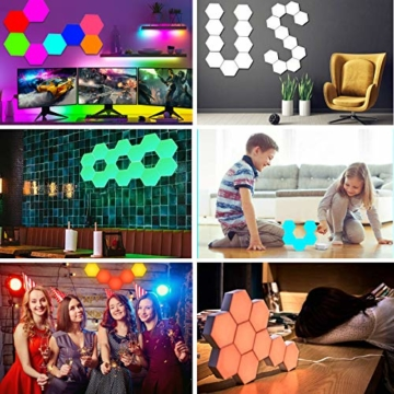 Sechseckige LED Wandleuchten mit Fernbedienung,Intelligente LED Lichtplatten RGB Gaming Lampe Touch-Steuerung Stimmungsbeleuchtung DIY Geometrie Spleißen Quantum Leuchte für Gaming/Party Deko,10 Stück - 5
