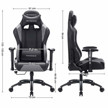 SONGMICS Gamingstuhl, höhenverstellbarer Racing Chair, Schreibtischstuhl mit Kopfstütze und Lendenkissen, 2D Armlehnen, Wippfunktion, 135 Grad Neigungswinkel, Kunstleder, Schwarz-Grau RCG12BG - 2