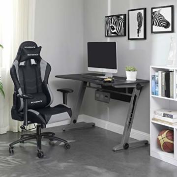 SONGMICS Gamingstuhl, höhenverstellbarer Racing Chair, Schreibtischstuhl mit Kopfstütze und Lendenkissen, 2D Armlehnen, Wippfunktion, 135 Grad Neigungswinkel, Kunstleder, Schwarz-Grau RCG12BG - 3