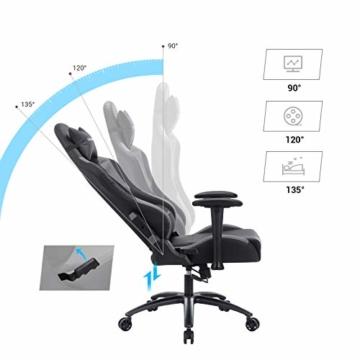 SONGMICS Gamingstuhl, höhenverstellbarer Racing Chair, Schreibtischstuhl mit Kopfstütze und Lendenkissen, 2D Armlehnen, Wippfunktion, 135 Grad Neigungswinkel, Kunstleder, Schwarz-Grau RCG12BG - 4