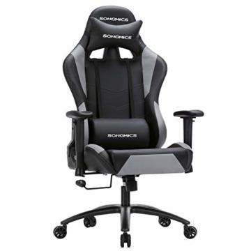 SONGMICS Gamingstuhl, höhenverstellbarer Racing Chair, Schreibtischstuhl mit Kopfstütze und Lendenkissen, 2D Armlehnen, Wippfunktion, 135 Grad Neigungswinkel, Kunstleder, Schwarz-Grau RCG12BG - 1
