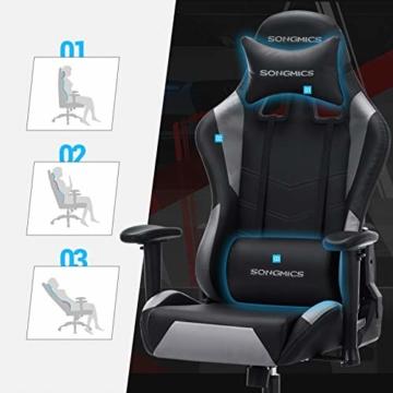 SONGMICS Gamingstuhl, höhenverstellbarer Racing Chair, Schreibtischstuhl mit Kopfstütze und Lendenkissen, 2D Armlehnen, Wippfunktion, 135 Grad Neigungswinkel, Kunstleder, Schwarz-Grau RCG12BG - 5
