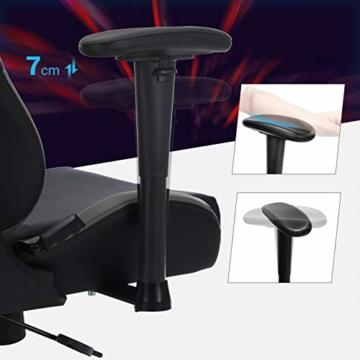 SONGMICS Gamingstuhl, höhenverstellbarer Racing Chair, Schreibtischstuhl mit Kopfstütze und Lendenkissen, 2D Armlehnen, Wippfunktion, 135 Grad Neigungswinkel, Kunstleder, Schwarz-Grau RCG12BG - 6