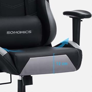 SONGMICS Gamingstuhl, höhenverstellbarer Racing Chair, Schreibtischstuhl mit Kopfstütze und Lendenkissen, 2D Armlehnen, Wippfunktion, 135 Grad Neigungswinkel, Kunstleder, Schwarz-Grau RCG12BG - 7