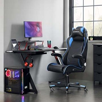 SONGMICS Gamingstuhl, Racing Chair, ergonomischer Schreibtischstuhl, Bürostuhl mit Kopfstütze und verstellbaren Armlehnen, höhenverstellbar, Stahlgestell, Kunstleder, schwarz-blau RCG014B01 - 2