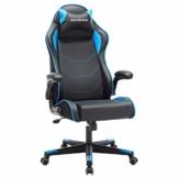 SONGMICS Gamingstuhl, Racing Chair, ergonomischer Schreibtischstuhl, Bürostuhl mit Kopfstütze und verstellbaren Armlehnen, höhenverstellbar, Stahlgestell, Kunstleder, schwarz-blau RCG014B01 - 1