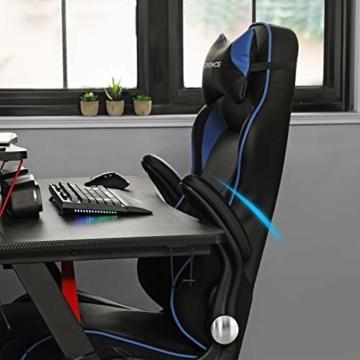 SONGMICS Gamingstuhl, Racing Chair, ergonomischer Schreibtischstuhl, Bürostuhl mit Kopfstütze und verstellbaren Armlehnen, höhenverstellbar, Stahlgestell, Kunstleder, schwarz-blau RCG014B01 - 3