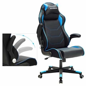 SONGMICS Gamingstuhl, Racing Chair, ergonomischer Schreibtischstuhl, Bürostuhl mit Kopfstütze und verstellbaren Armlehnen, höhenverstellbar, Stahlgestell, Kunstleder, schwarz-blau RCG014B01 - 4