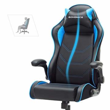 SONGMICS Gamingstuhl, Racing Chair, ergonomischer Schreibtischstuhl, Bürostuhl mit Kopfstütze und verstellbaren Armlehnen, höhenverstellbar, Stahlgestell, Kunstleder, schwarz-blau RCG014B01 - 5