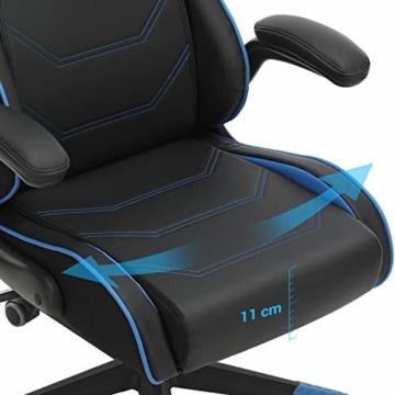 SONGMICS Gamingstuhl, Racing Chair, ergonomischer Schreibtischstuhl, Bürostuhl mit Kopfstütze und verstellbaren Armlehnen, höhenverstellbar, Stahlgestell, Kunstleder, schwarz-blau RCG014B01 - 6
