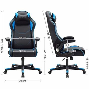 SONGMICS Gamingstuhl, Racing Chair, ergonomischer Schreibtischstuhl, Bürostuhl mit Kopfstütze und verstellbaren Armlehnen, höhenverstellbar, Stahlgestell, Kunstleder, schwarz-blau RCG014B01 - 7