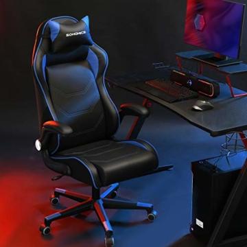SONGMICS Gamingstuhl, Racing Chair, ergonomischer Schreibtischstuhl, Bürostuhl mit Kopfstütze und verstellbaren Armlehnen, höhenverstellbar, Stahlgestell, Kunstleder, schwarz-blau RCG014B01 - 8