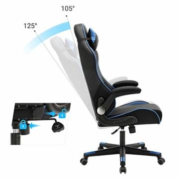 SONGMICS Gamingstuhl, Racing Chair, ergonomischer Schreibtischstuhl, Bürostuhl mit Kopfstütze und verstellbaren Armlehnen, höhenverstellbar, Stahlgestell, Kunstleder, schwarz-blau RCG014B01 - 9