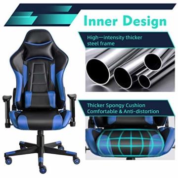 Twomaples Gaming-Stuhl Racing Büro Computer Gaming-Stuhl Ergonomische Rückenlehne und Sitzhöhenverstellung Lehnstuhl Drehwippe mit Kopfstütze und Lendenkissen E-Sportstuhl (Schwarz/Blau) - 2