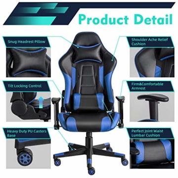 Twomaples Gaming-Stuhl Racing Büro Computer Gaming-Stuhl Ergonomische Rückenlehne und Sitzhöhenverstellung Lehnstuhl Drehwippe mit Kopfstütze und Lendenkissen E-Sportstuhl (Schwarz/Blau) - 3