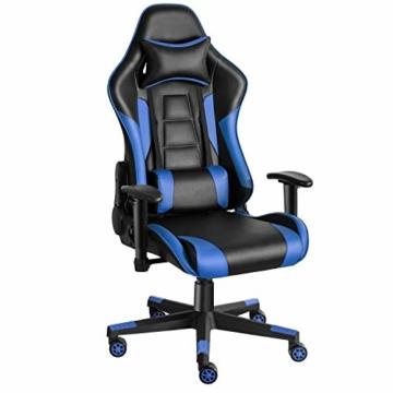 Twomaples Gaming-Stuhl Racing Büro Computer Gaming-Stuhl Ergonomische Rückenlehne und Sitzhöhenverstellung Lehnstuhl Drehwippe mit Kopfstütze und Lendenkissen E-Sportstuhl (Schwarz/Blau) - 1