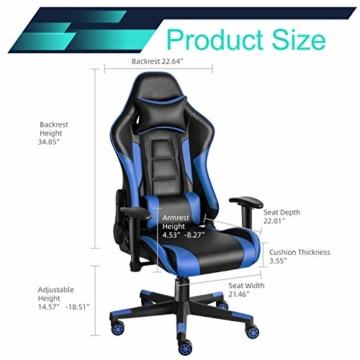 Twomaples Gaming-Stuhl Racing Büro Computer Gaming-Stuhl Ergonomische Rückenlehne und Sitzhöhenverstellung Lehnstuhl Drehwippe mit Kopfstütze und Lendenkissen E-Sportstuhl (Schwarz/Blau) - 6