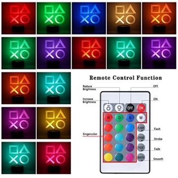 ZWOOS Gaming Lampe – Illusion Nachtlicht - PS Lamp mit Fernbedienung - 16 Farben - 4 Beleuchtungsmodi - Gaming Dekoration - 3