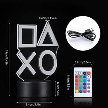 ZWOOS Gaming Lampe – Illusion Nachtlicht - PS Lamp mit Fernbedienung - 16 Farben - 4 Beleuchtungsmodi - Gaming Dekoration - 7