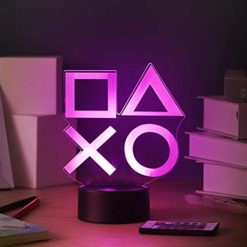 ZWOOS Gaming Lampe – Illusion Nachtlicht - PS Lamp mit Fernbedienung - 16 Farben - 4 Beleuchtungsmodi - Gaming Dekoration - 8