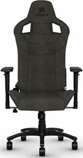 Corsair T3 Rush, Polyester Stoff Gaming Büro Stuhl (Atmungsaktivem Weichen Stoff, Gepolsterten Nackenkissen, Lendenstütze aus Memory-Schaumstoff, 4D-Armlehnen, Leich Montieren) schwarz - 1