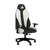 Corsair TC70 Remix Gaming-Stuhl (Entspannte Passung, Bezug aus Kunstleder und Weichem Stoff, Integrierte Lendenstütze aus Schaumstoff, Vielseitig Verstellbare Armlehnen, Leicht zu Montieren), Weiß - 1