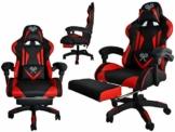 MALATEC Gaming Stuhl Bürostuhl Schreibtischstuhl mit Fußstützen Kissen Ergonomisch 8979 - 1