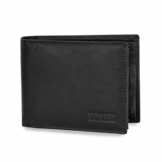 MOKIES Herren Geldbörse aus echtem Leder - 100% Rindleder - RFID und NFC-Schutz - Querformat - Portemonnaie für Männer - 1