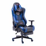 play haha Ergonomischer Gaming-Stuhl im Renn-Stil, mit größerer Rückenlehne und gepolsterter Armlehne, Kunstleder, blau, with footrest - 1